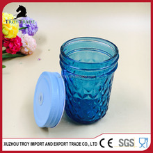 hot sale pump lid glass mason jar wholesale blue glass embossed mason jar with lid with high quality