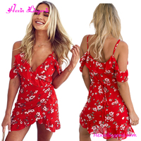 Women Red Printed V Neck Spaghetti Strap Latest Design Plain Chiffon Dress