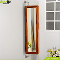 Wall Rotating Teak Wooden Bathroom Cabinet With Mirror
