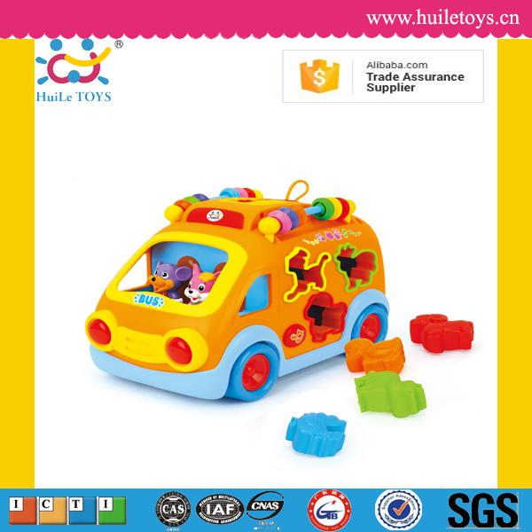 Hot selling music and light kid bus <strong>toy</strong> with blocks