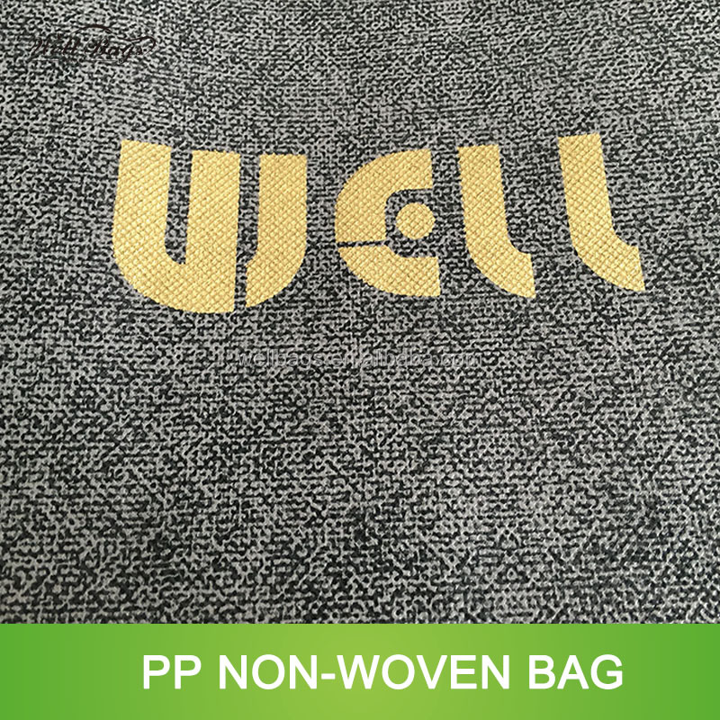 2017 New material design gold silver offset printing texture non woven shopping bag alibaba trade assurance