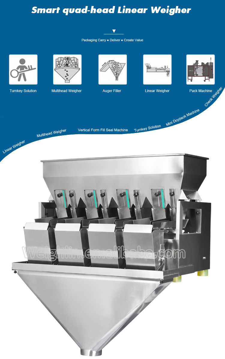 Automatic 4 heads linear weigher packaging machine for packing snack foods dried fruits granules nut food