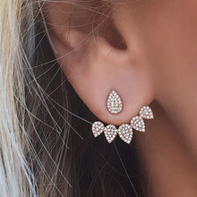 Artilady jewelry wholesale china crystal diamond teardrop ear clip stud earrings for girls