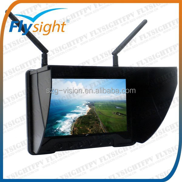 C314 Dual Receiving 5.8Ghz Mini FPV 1024X600 7 inch lcd monitor Screen with HDMI input and built-in battery