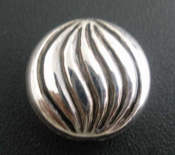 50Pcs Silver Tone Ripple Round Acrylic Spacer Beads 14mm Dia.