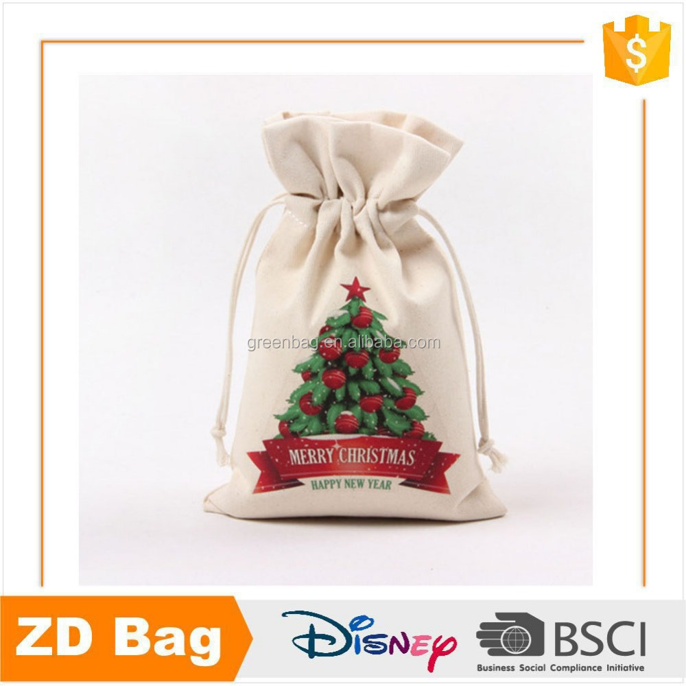 Christmas theme wholesale promotion small pouch cotton drawstring bag