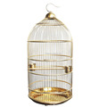 Golden Stainless Steel Round Bird Cage Garden Decor Cage
