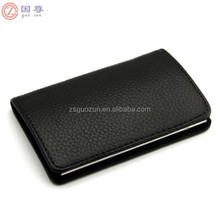 Leather & Stainless Steel Business Name Card Holder Wallet Leather Credit Card ID Case Holder Name Cards Case for Mens & Lady