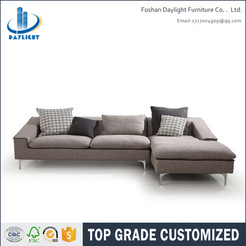 Fashionable style upholstered corner sofa living room covers fabric