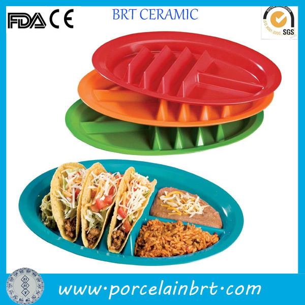 Mexican divided ceramic dinner Taco Plate
