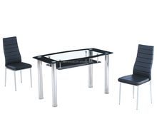 Space saving double layer tempered glass restaurant dining table