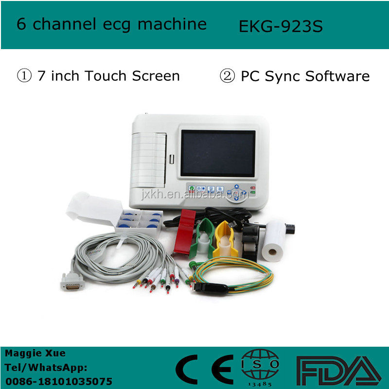 China Cheap Price Portable Six-channel Software Electrocardiograph Color Touch Screen 6 channel portable ecg machine