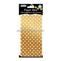 Foil Paper Dotted Stars Yellow Card Paper Bow Gift Wrapping Decorative