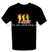Funny animation EL Wireless T-shirts /EL flashing t-shirt get rid of wire