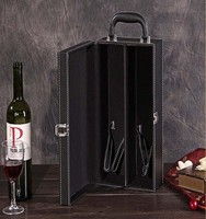 luxury PU leather wine packaging rigid box with fitment insert