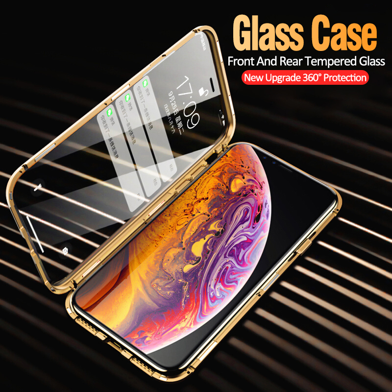 Double sided 9H Tempered Glass 360 Full Protection Metal Magnetic <strong>Case</strong> for iPhone 7 X XS MAX XR