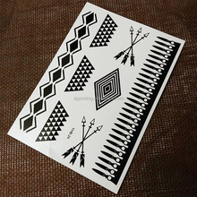 White and Black Classic Collocation Temporary Tattoo Sticker For Body Art