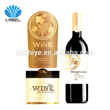 Custom stylish high quality self adhesive red wine label, wine bottle label stickers