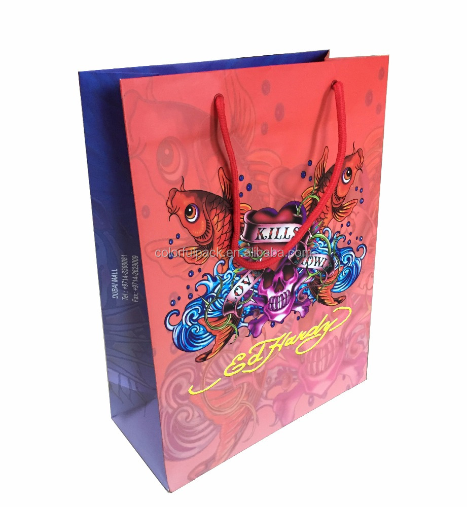 Jewelry promotion custom printed paper shopping bag