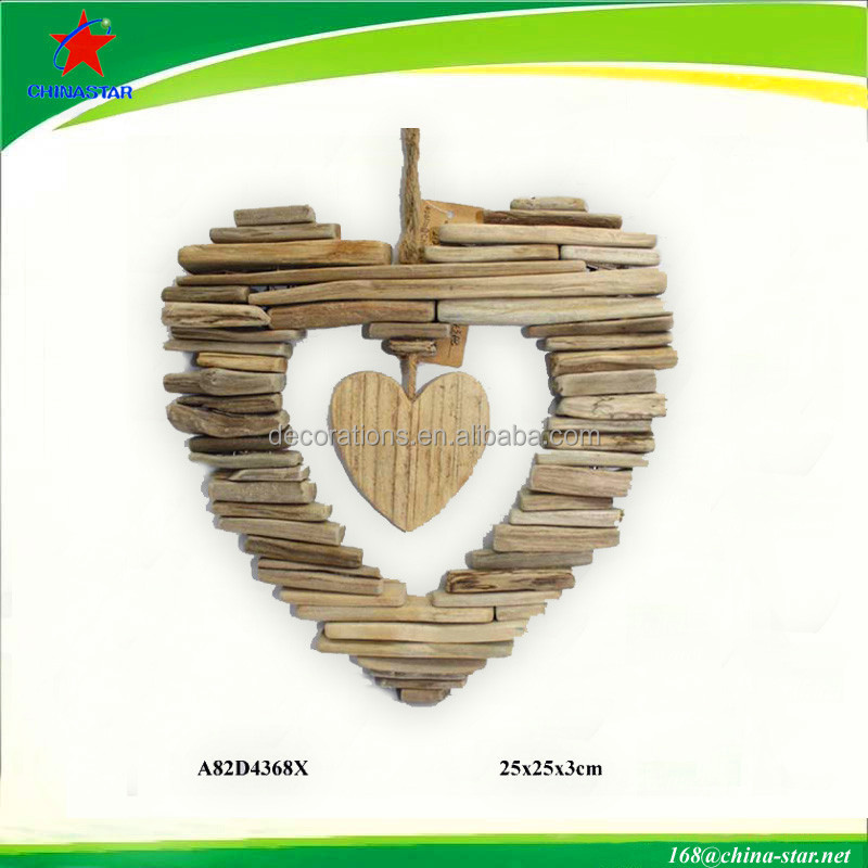 decorative hanging solid wood heart