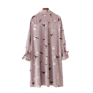 Birds Floral Pattern Striped Oversize Long Shirts Loose Sleeve Pocket Side Split Casual Blouse Tops