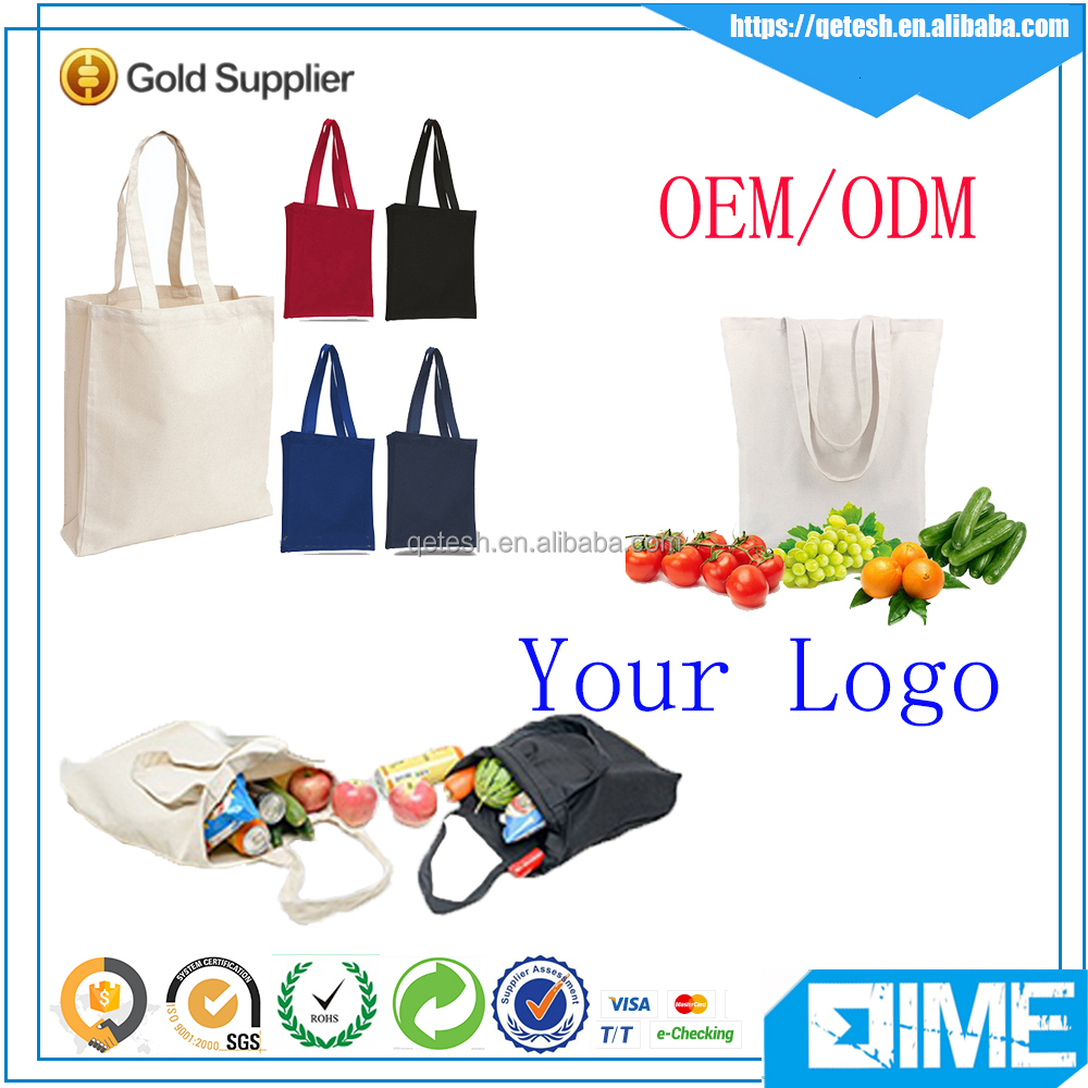 China Manufacturer Wholesale Cheap Reusable Canvas Shopping Tote Bag