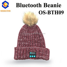 hot sale custom bluetooth beanie hat with speakers with top ball