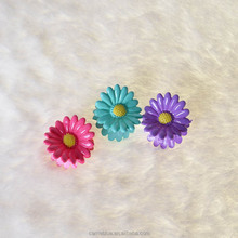 Plastic small mini size mix color sun flower hair claw for kids hair