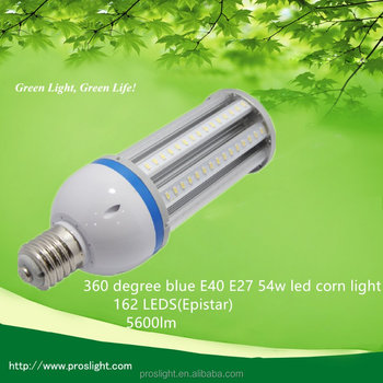 360 degree blue E40 E27 54w led corn light