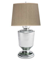 home goods modern decoration glass table lamps with clear lamp stand and linen fabric lamp shade