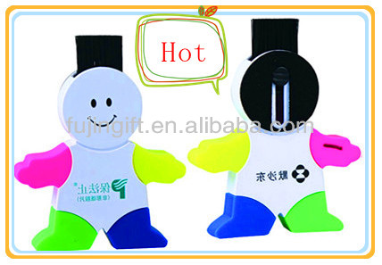 4 in 1 plastic brush man shape gift highlighter pen