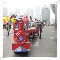 High quality kids game amusement rides electric fiberglass trackless train for sale