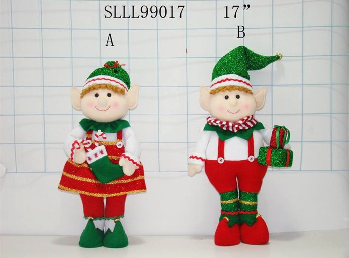 Christmas decoration stuffed standing elf doll