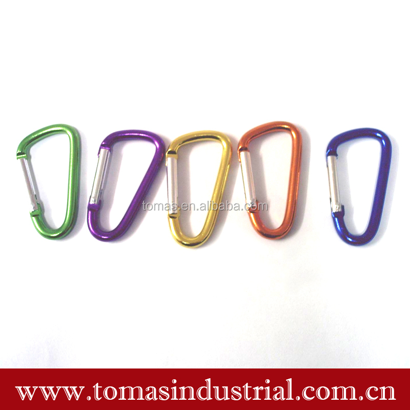 Custom metal material D shaped round wire gate carabiner hook