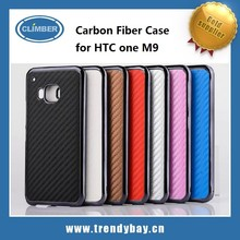 Carbon Fiber Pattern Leather Back Hard Protect Case For HTC One M9