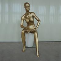 Sitting Golden Color Female Mannequin For Sale