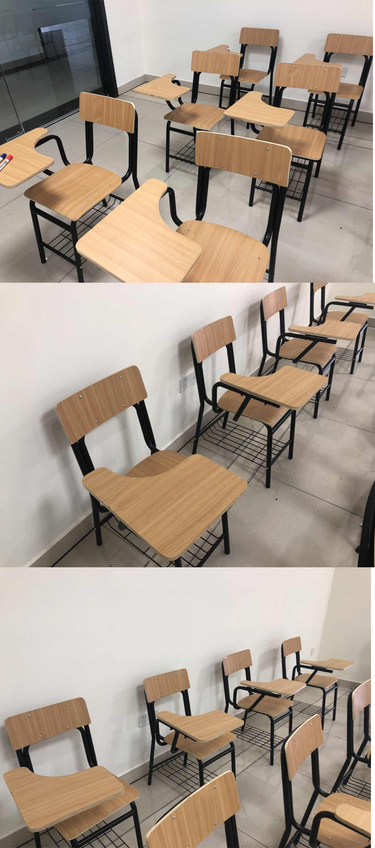 Cheap Plywood Chair Table With Writing Pad For College Student
