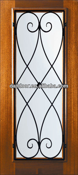 Glass Panel Wrought Iron Safety Door Grill Designs DJ-S5200MW-5