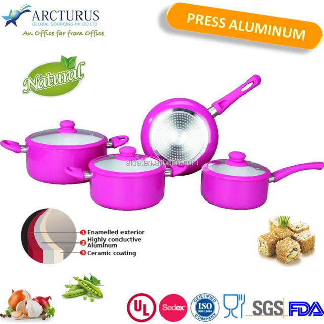 light color high quality press aluminum cookware set with hole induction bottom