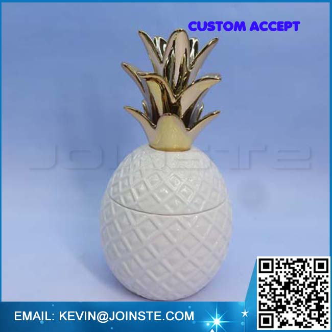 White and Nude Ceramic Pineapple 4.1L x 8.5H x 4.3W