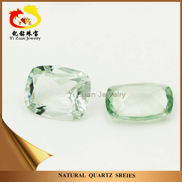 High quality natural rectangle cushion princess cut gemstone quartz green amethyst