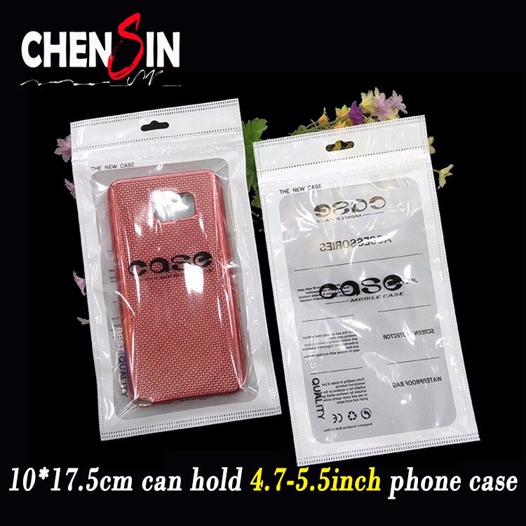 10*17.5cm mobile phone case packaging TPU case White zipper plastic bag for iphone 7 plus case cover