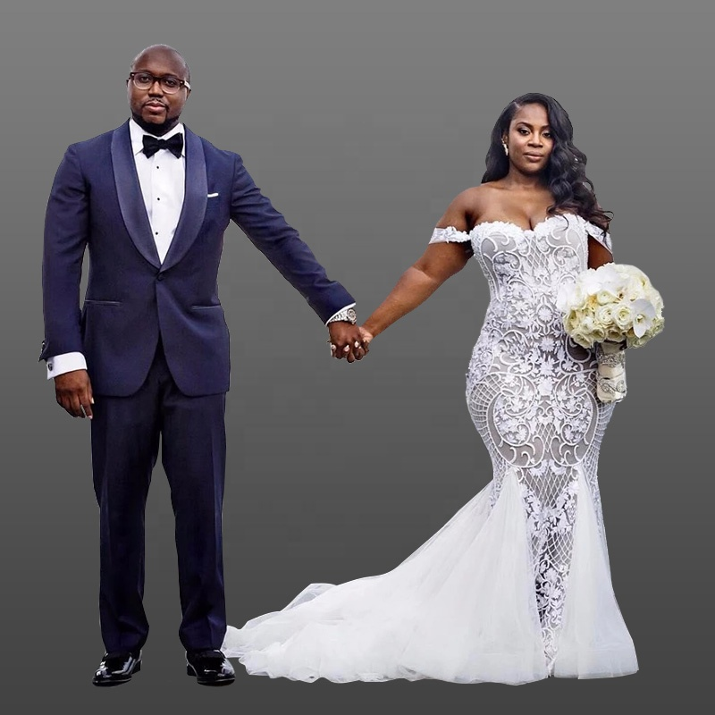 4cc879010b7 South African Mermaid Plus Size Wedding Dresses Off Shoulder Lace Custom  Made Bridal Gowns