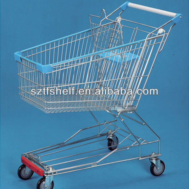 Asian style wire chromed supermarket shopping trolley