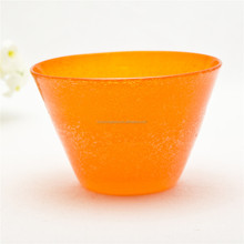 Bubble Design Orange Colored Clear Glass Bowl For Ice cream cup