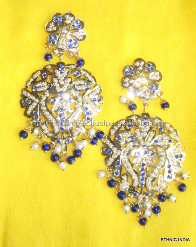 Gold plated Jadau light weight dangler MUGHAL EARRINGS