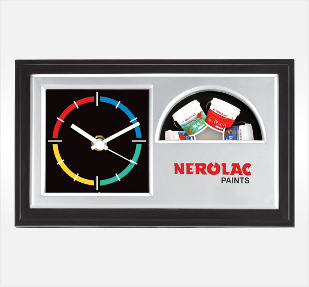 clock with logo desk clock with revolving branding