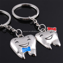 Cartoon Teeth Keychain Dentist Decoration Key Chains Stainless Steel Tooth Model Shape Dental Clinic Gift