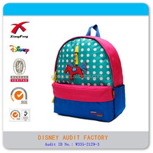 3 pocket baby school backpack simple baby lattice backpack with horse