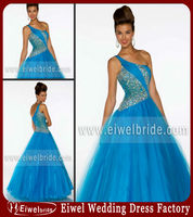 MD_027 Stylish Blue One Shoulder Beaded Tulle Fluffy Prom Dress